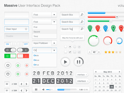 Massive UI Design Pack, vol. 1 interface design user-interface freebies download psd web-elements web elements