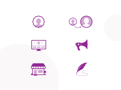 Onboarding Icons personal promote write blog sell pagecloud onboarding icons icon