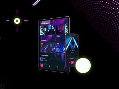 Neon Phone & iPad Pro Mockups webpage web ux ui presentation theme macbook mac laptop display simple clean realistic phone mockup smartphone device mockup abstract phone neon