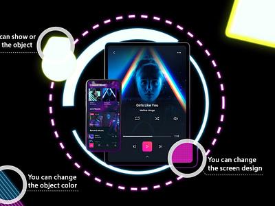 Neon Phone & iPad Pro Mockups neon website web ux ui presentation theme mac macbook laptop display simple clean realistic phone mockup smartphone device mockup abstract phone