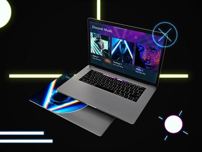 Neon Floating MacBook Pro web ux ui presentation theme macbook mac laptop display simple clean realistic smartphone device mockup abstract phone light neons neon