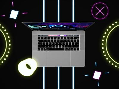 Neon MacBook Pro Mockups web ux ui presentation theme mac macbook pro macbook laptop display simple clean realistic phone mockup smartphone device mockup abstract phone neon