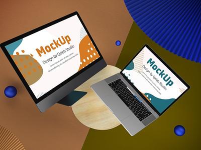 Website Top view Mockups web webpage website ux ui presentation theme macbook mac laptop display simple clean realistic phone mockup smartphone device mockup abstract phone