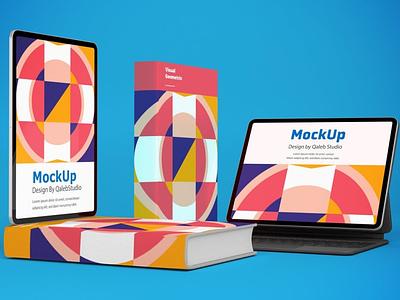 Devices & Books Responsive Mockups website web ux ui presentation theme macbook mac laptop display simple clean realistic phone mockup smartphone device mockup abstract phone books