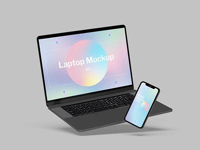 Laptop & Smartphone Mockup website webpage web ux ui presentation theme macbook mac display simple clean realistic phone mockup smartphone device mockup abstract phone laptop