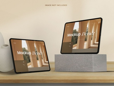 Tablet Mockup Realistic Device Scandinavian Style website web ux ui presentation theme macbook mac laptop display simple clean realistic phone mockup smartphone device mockup abstract phone tablet