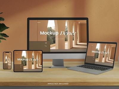 Multi Mockup Realistic Device Mockup webpage website web ux ui presentation theme macbook mac laptop display simple clean realistic phone mockup smartphone device mockup abstract phone