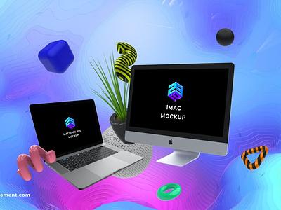 iMac Macbook Pro Mockup website webpage web ux ui presentation theme macbook mac laptop display simple clean realistic phone mockup smartphone device mockup abstract phone