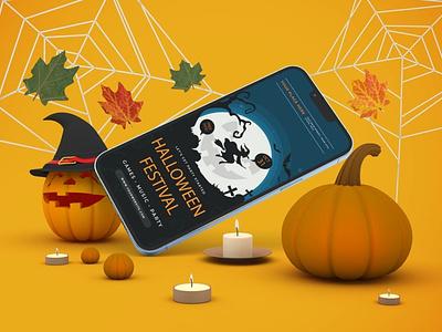Halloween iPhone 13 Mockups display clean realistic phone mockup smartphone device mockup abstract phone screen ios apple iphone 13 pro iphone 13 iphone pumpkin scary zombie spooky halloween