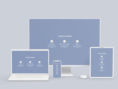 Multi Devices Mockup Clay website webpage web ux ui presentation theme macbook mac laptop display simple clean realistic phone mockup smartphone device mockup abstract phone