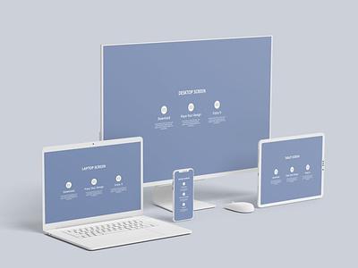 Multi Devices Mockup Clay ux ui website webpage web presentation theme macbook mac laptop display simple clean realistic phone mockup smartphone device mockup abstract phone