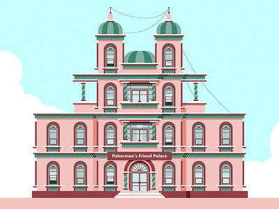 Fisherman's Friend Palace color vector windows sky ilustrator colors museum casino hotel palace castles chateau mansion maison castle building house friend