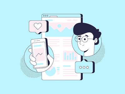 Social Media comment character like blogpost post visual composition art design color illustration illustrator social media social