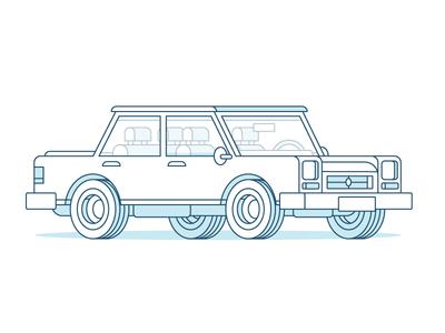 Classic Sedan  drawing work office 3d vector color art design shadow line vehicle car