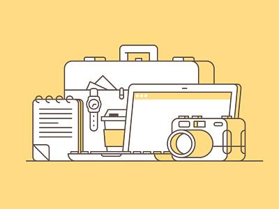 Digital Nomad Starting Pack illustrator trip icons art design explore travel traveler designer nomad digital