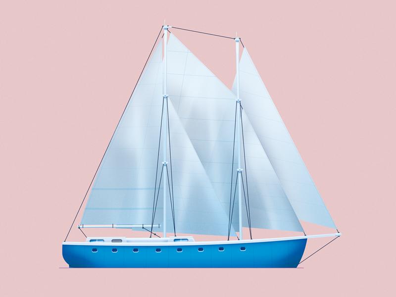 The Sailboat art design color fishing sea ship ocean trip journey travel boat sailboat