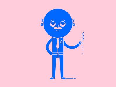 Old man illustration illustrator drawing contrast outline draw smoking man old color design character