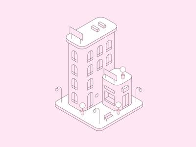 Buildings illustration 3d town city store monochromatic illustrator perspective buildings