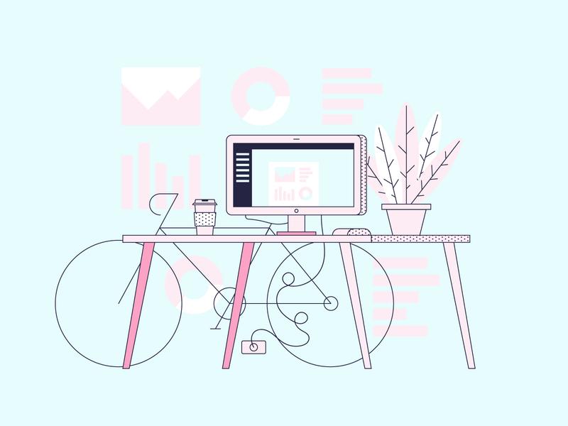 Freelance Desk illustration design color vector bike plants computer work freelance desk