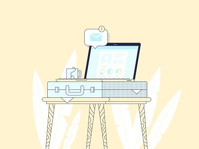 Job illustration design color vector plant laptop email suitcase job