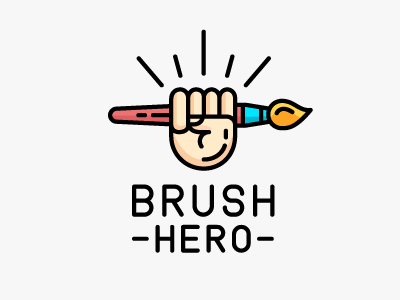 Brush hero brush hero revolution hand oil paint paint painting art brush logo