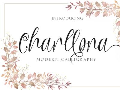 Charllona ui illustration design script logo font design branding beautiful handwritten font