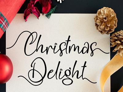 Christmas Delight illustration design script logo font design branding beautiful handwritten