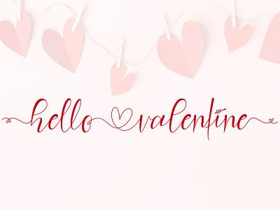 Hello Valentine logo ui illustration design script font design branding beautiful handwritten font