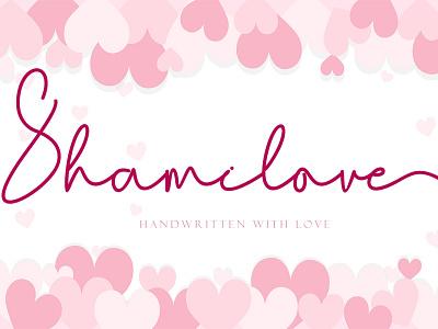 Shamilove ui illustration design script logo font design branding beautiful handwritten font