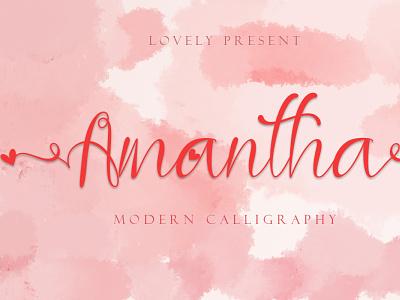 Amantha logo font design font branding beautiful handwritten