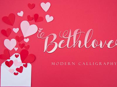 Bethlove ui illustration design script logo font design branding beautiful handwritten font