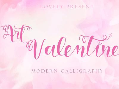 Art Valentine illustration ui design script logo font design branding beautiful handwritten font