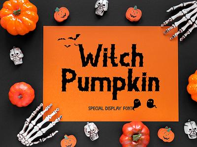 Witch Pumpkin display sticker print poster banner logos procreate svg halloween script ui illustration design handwritten beautiful logo font design branding font