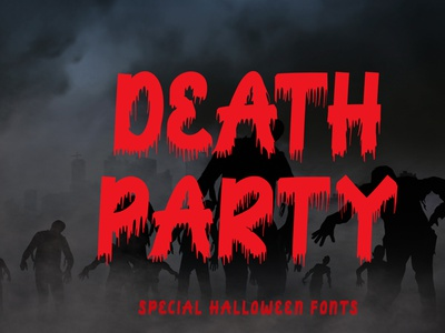 Death Party handwritten font design comic illustration logo branding print poster tittle movie procreate sublimation kdp halloween svg sticker scary party halloween font