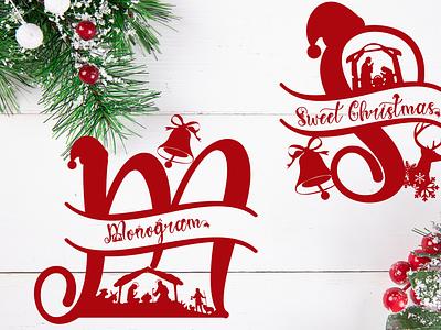 Sweet Christmas Monogram halloween fall sticker sublimation procreate kdp svg font  christmas christmas monogram  christmas monogram script calligraphy font