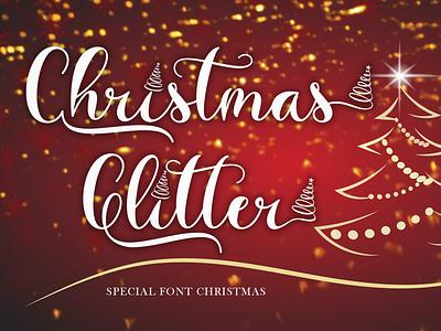 Christmas Glitter branding logo banner print new year winter autumn fall sticker sublimation procreate kdp svg christmas svg christmas calligraphy handwritten script font