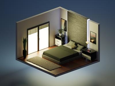 Isometric room in Blender 3d mario uranjek 3dart design 3dmodeing