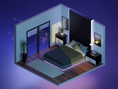 Isometric Bedroom Fireflies animation isometric art isometric illustration mario uranjek bledner 3dmodeling isometric design isometric