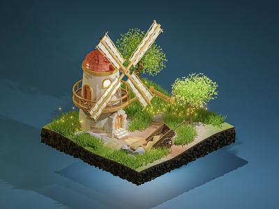 Medieval Windmill Blender lowpoly windmill blender3d 3dmodeling cgi 3d art