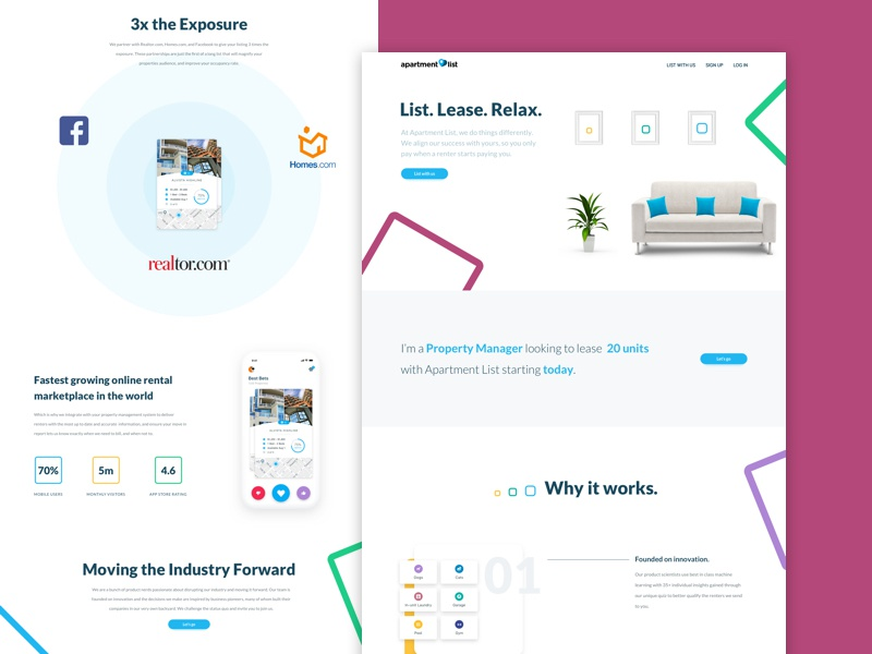Property Landing Page home page graphic design vibrant modern website landing page branding ux ui web