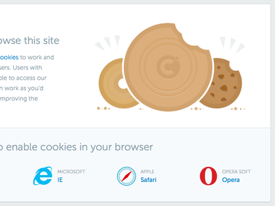 Enable Cookies cookies browsers illustration white brown