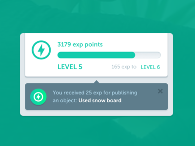 Experience points experience gamification notification bubble growl