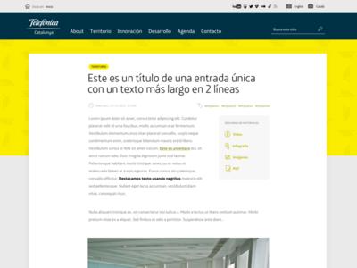 Yellow blog header white grey navy blue big typography single page wordpress yellow blog header