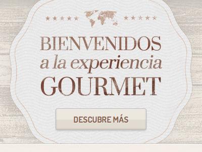 Gourmet experience beige brown vintage button css3 sticker