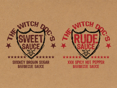 Witch Doc's Barbecue Sauces bbq craft food sauce label sketch witch doctor sweet rude