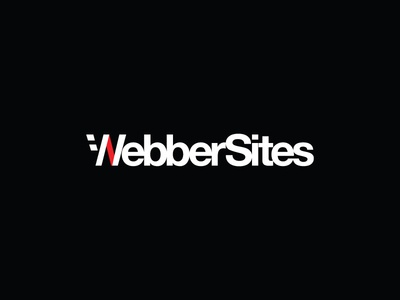 WebberSites, the final logo helvetica bold type black white red logo websites tech