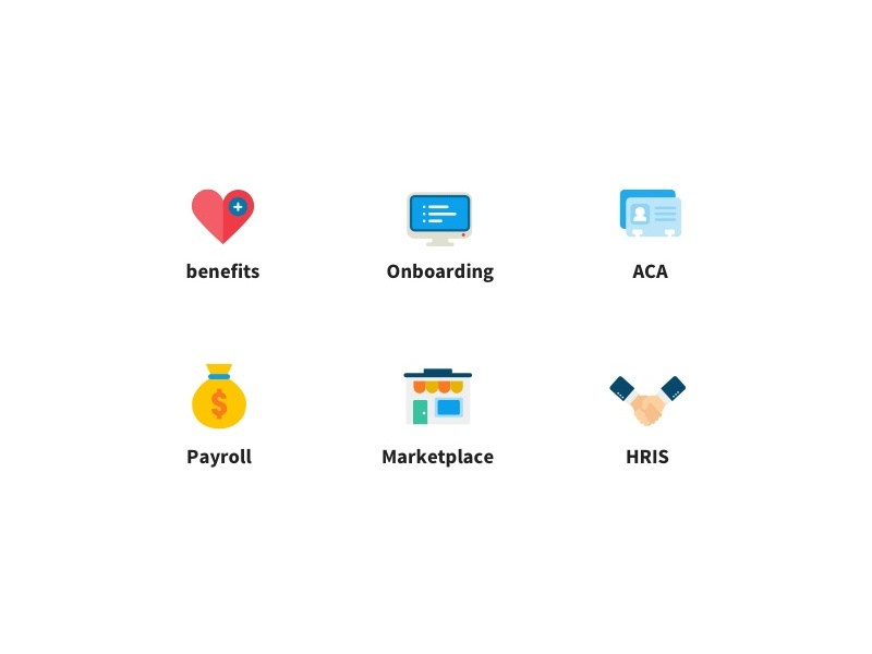 features icon set hr marketplace payroll medical onboarding benefits heart illustration icon