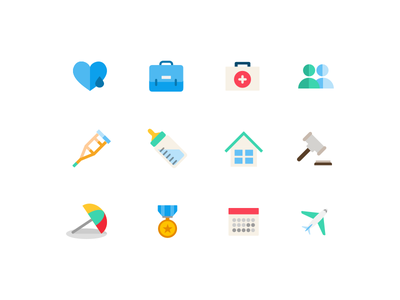 Time off icon set users medal plane sick-leave jury-duty calendar vacation home heart time-off illustration icon
