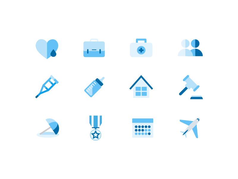 Time off icon set (blue) users medal plane vacation time-off sick-leave jury-duty illustration icon home heart calendar