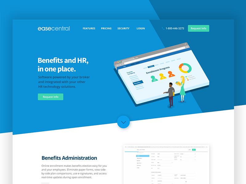 software product landing page web design hr benefits software character illustration banner landing page